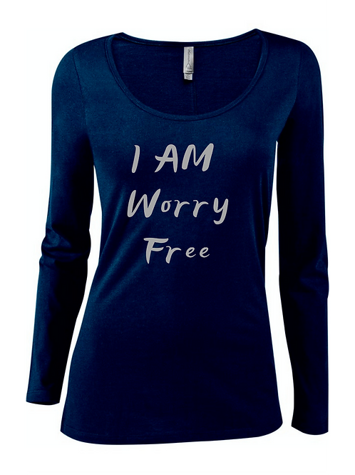 I AM WORRY FREE SCOOP NECK LONG SLEEVE TEE FOR WOMEN