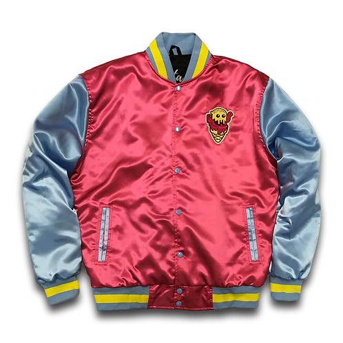 Burr Satin Varsity Jacket Magent Pink
