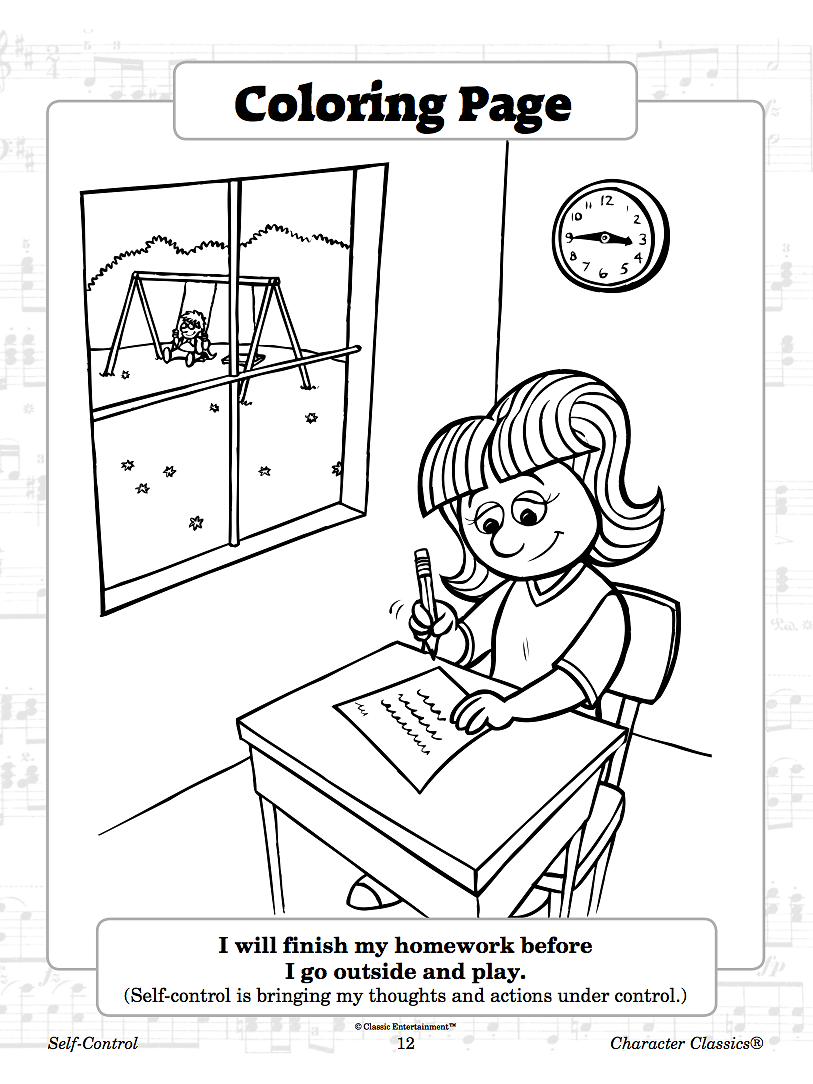 Se self control coloring pages - Self Control Activity Resource Book Cd