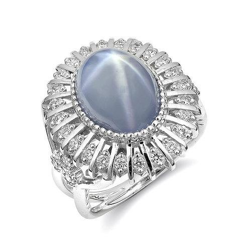14k White Gold 10.47ct TGW Gray-Blue Star Sapphire and White Diamond Ring