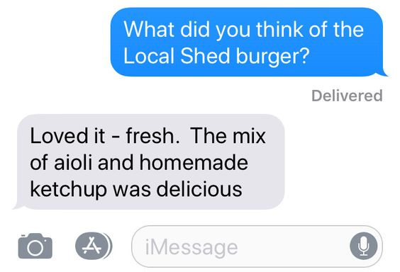 Sarah's impression of the Local Shed Burger