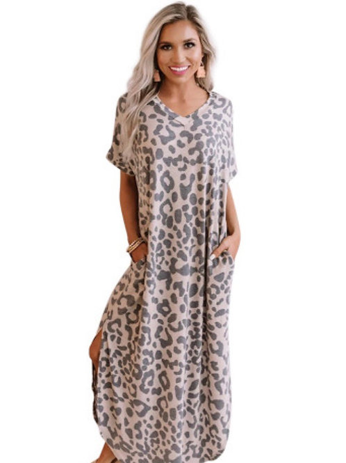 Brunch light pink leopard dress
