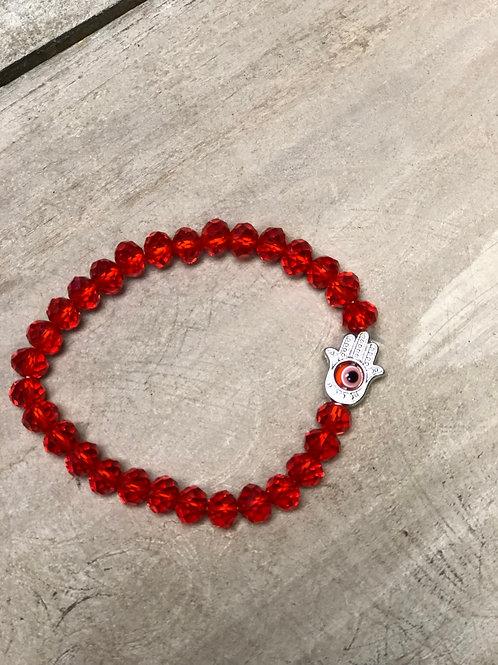 Red Beaded Ojo Bracelet