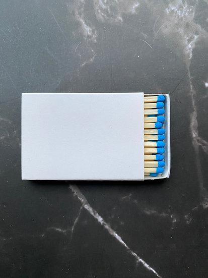 Custom Foil Stamped Matchbox - Natural/Bright Blue Matchstick
