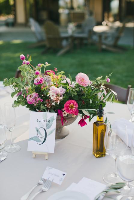 Napa Wedding Table Number