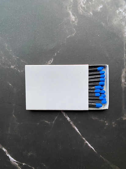 Custom Foil Stamped Matchbox - Blue/Black Matchstick