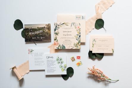 Blush Floral Watercolor Invitation Suite