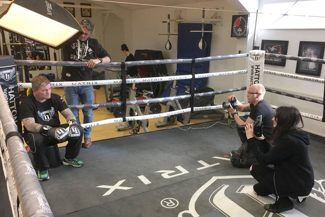 Students working with Ricky Hatton