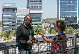 Karen interviewing US based music academic Prof. Mike Alleyne at the Purple Reign Conferen
