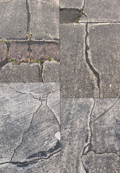 Cracks in the road - highlighting cracks