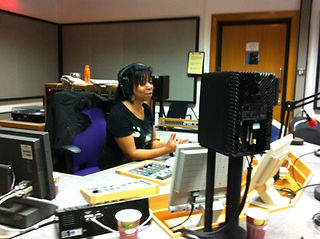 Karen Gabay at the old BBC Radio Manchester studio on Oxford Road, Manchester.jpg