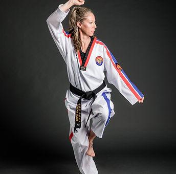 female taekwondo instructor