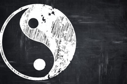 Chalkboard writing_ Ying yang symbol