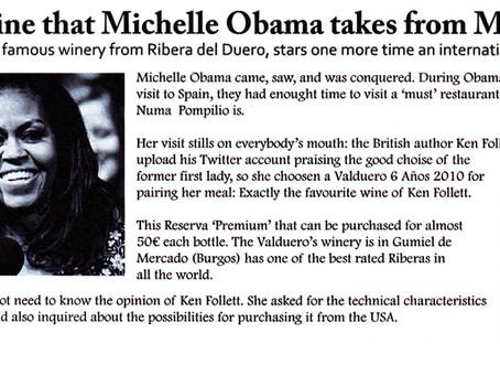 """Michelle Obama kiest de wijn """"Valduero 6 años"""""""