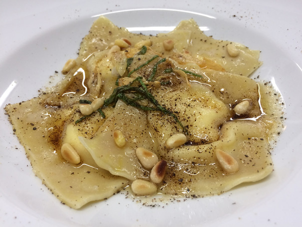 goat cheese ravioli with thyme and pine