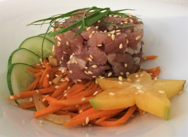 tuna tartare on warm acrrot salad.jpg