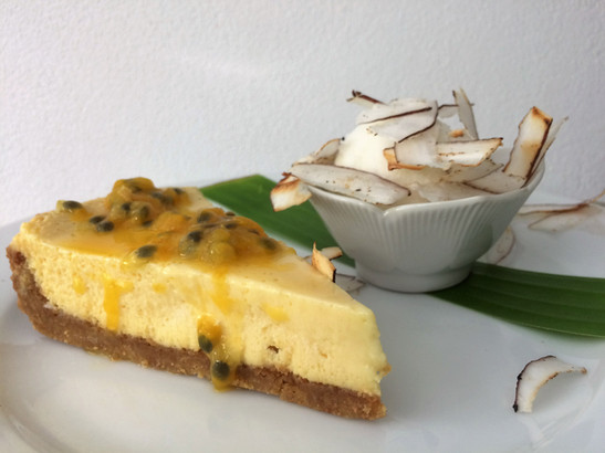 passion fruit tarte with coconut sour cr