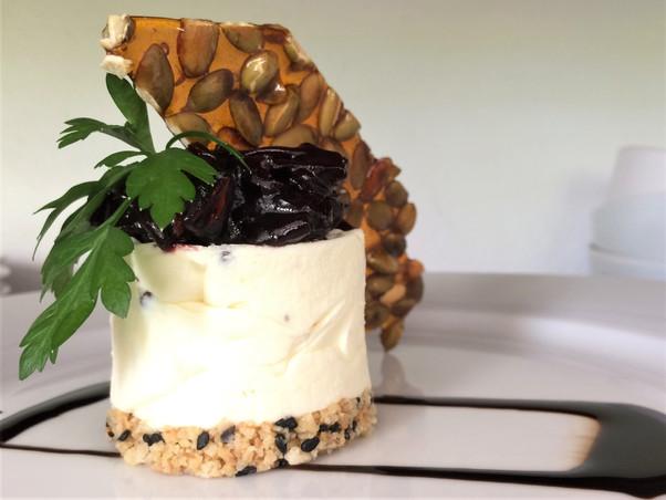 goat's cheesecake with sorrel chutney.jp