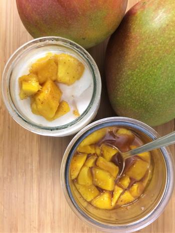 coconut ice ceam with tandoori poached m