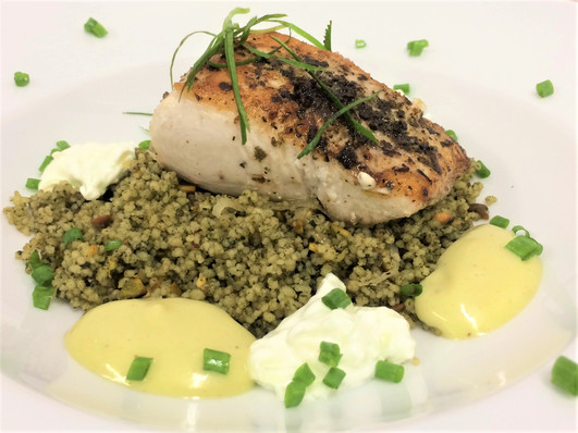 mahi mahi on green coucous with wasabi m