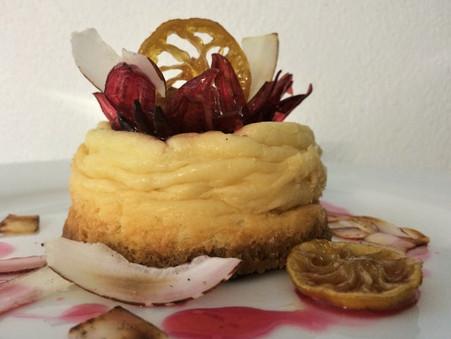 coconut cheesecake, sorrel, caramelised