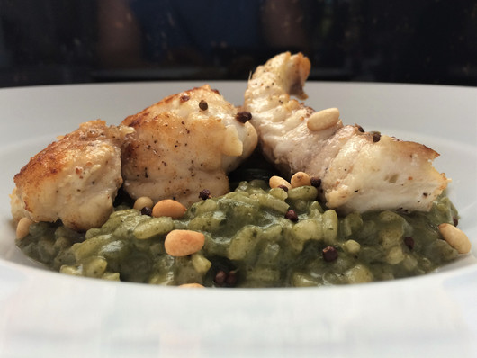 trigger fish on callaloo risotto with pi