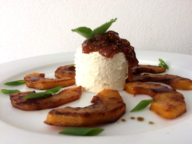 goat cheese mousse with dried fig chutney and butternut