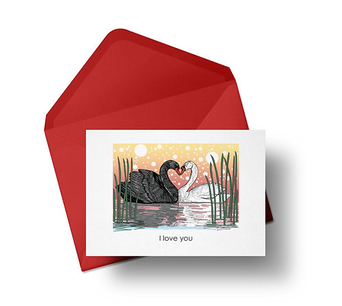 Sunset Swans in Love Card