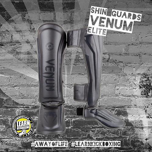 Venum Elite Shin Guards (Grey)