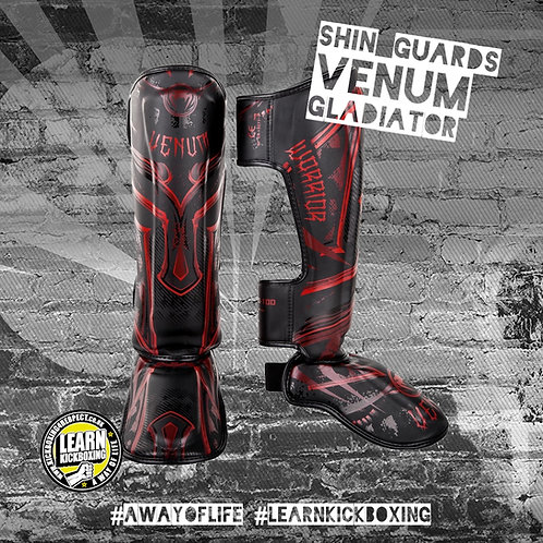 Venum Gladiator 3.0 Shin Guards (Red)