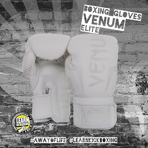 Venum Elite Boxing Gloves (White)