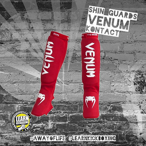 Venum Kontact Shin Guards (Red)