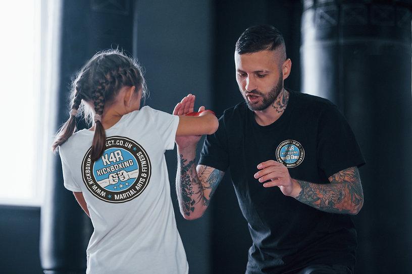 Man teaching child