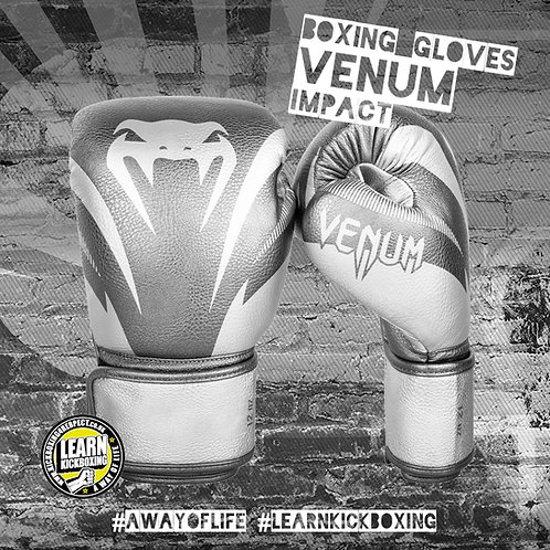 Venum Impact Boxing Gloves (Silver)