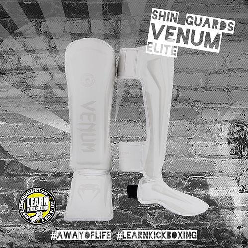 Venum Elite Shin Guards (White)