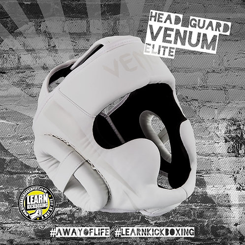 Venum Elite Head Guard (White)