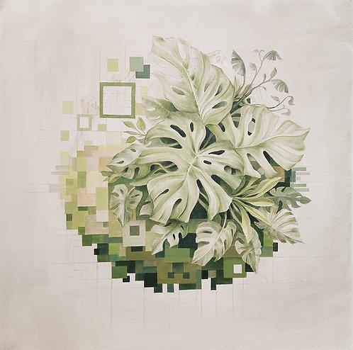 """""""Progressive Planetary Pixelation"""", 80cm x 80cm, Oil on canvas"""