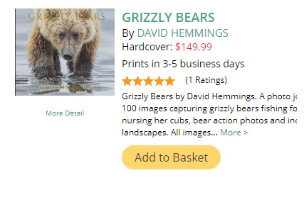 Grizzly Bear Photo Book by David Hemmings