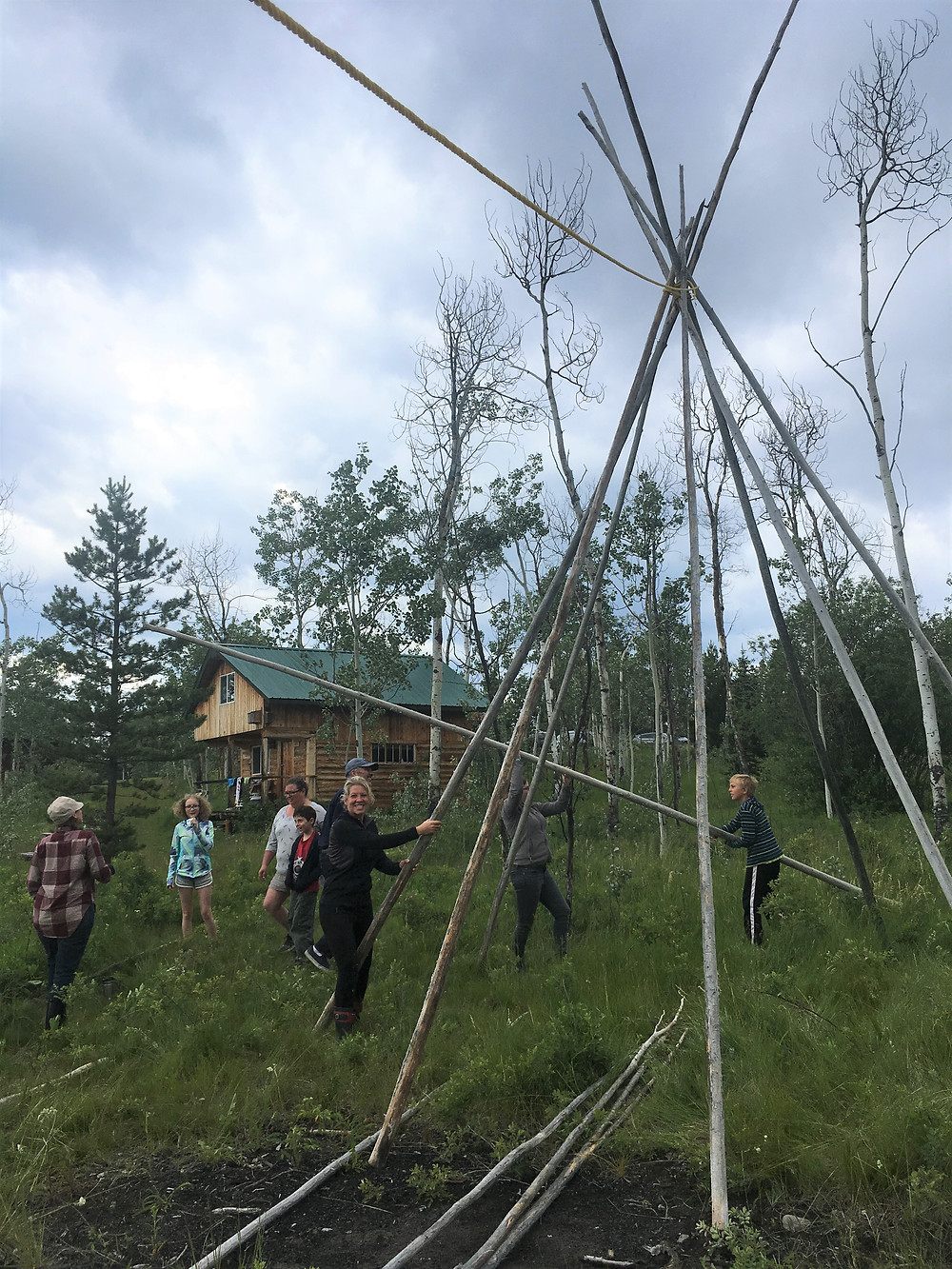 Stage 1 -Teepee Putting up poles