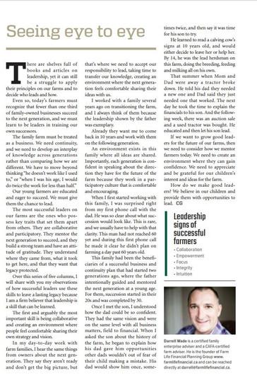 Leadership: Country Guide Magazine Series: Seeing Eye to Eye