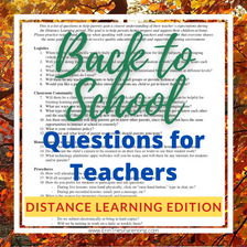 Questions for Teachers About Distance Learning