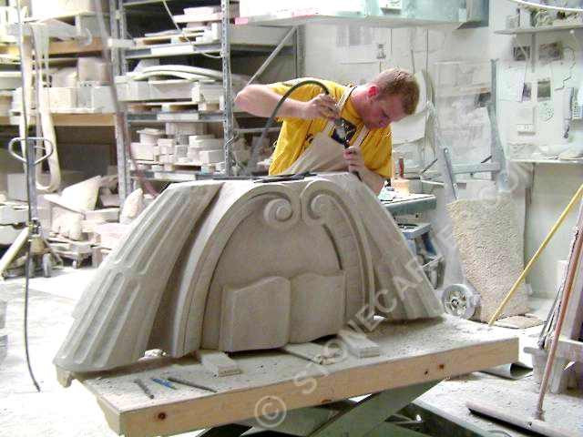 Me as apprentice learning to carve stone in Chicago ( the hair has disappeared since then)