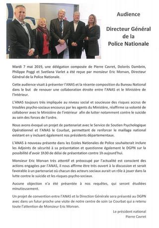 L'ANAS reçue par le Directeur Général de la Police Nationale