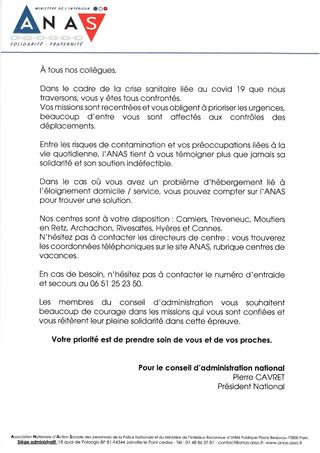 L'ANAS SOUTIENT NOS FORCES DE L'ORDRE