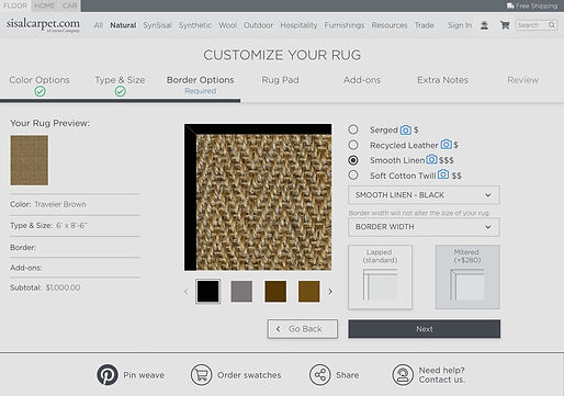 Screen shot of a rug buying product
