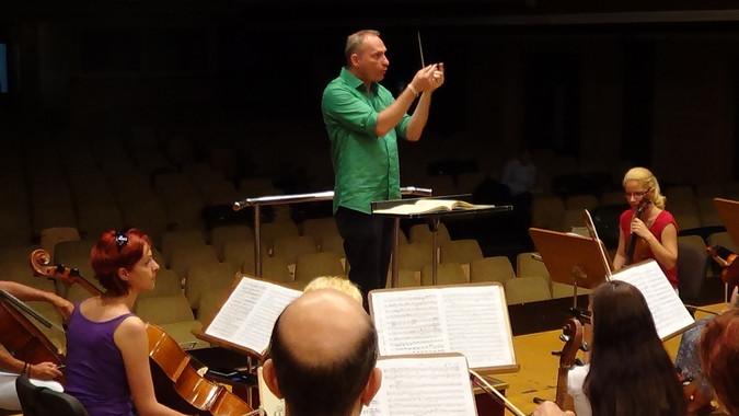 Probe mit Orchester