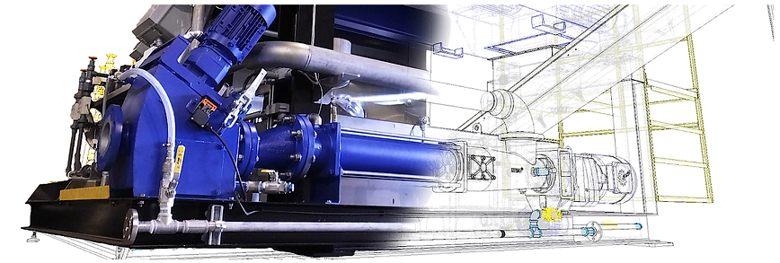 Image of a Centrifuge skid transition from CAD drawing to actual build