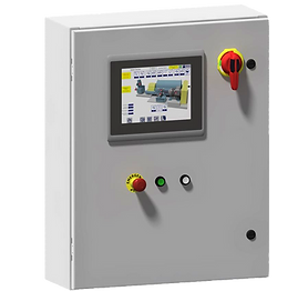 control panel build wth touch screen, emergency stop, power indicator, and diconnect.