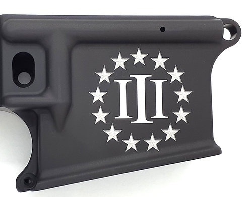 AR15 Lower Receiver - 3 Percenter with 3D Stars