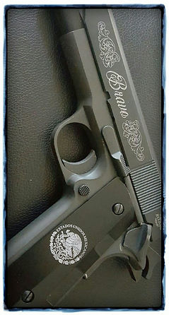 Gun_grip & slide_Mexican flag_BRAVO with